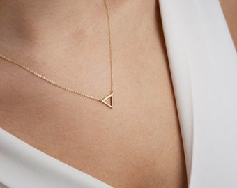 Gold Triangle Necklace, 14k Gold Necklace, Yellow Gold, Gold Triangle, Simple Necklace, Minimalist Jewelry, Gift For Her, Geometric Necklace