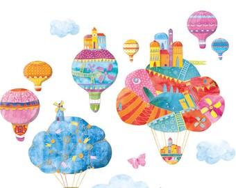 Hot Air Balloon Wall Decal, Wall Decals Nursery, Wall Decals Nursery Girl, Watercolor Decal, Boy Wall Decal, Wall Decal Baby, Clouds Decal