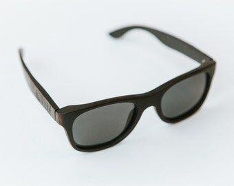 Distressed Black Wood Wayfarer Sunglasses
