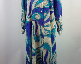 70s Maxi Printed Dress. Teal Purple White Paisley Pattern. Button front. Long Sleeves Large to X Large