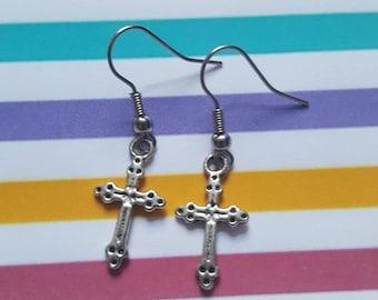 Cross earrings, Cross, Crosses, Dangle earrings, Pendant earrings, Gifts for her, Gift idea