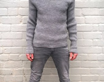 Men's military pullover, grey army sweater, military sweater, authentic military, winter sweater, wool sweater, M/L (TW13)