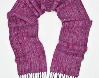 Woven Scarf - Ladies Scarf - Wool Scarf - Hand Woven Scarf - Pink Winter Scarf - Fringe Scarf - Gift for Her - Birthday Gift - Scarves