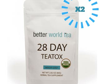 2 FOR 25 Weight Loss Tea: Detox, Body Cleanse, Reduce Bloating, & Appetite Suppressant, 28 Day Teatox ,with Potent Traditional Organic Herbs