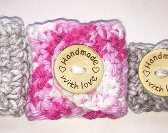 Crochet Cord Organizers with Wooden Button Engraved with Love - 4 Pack, Handmade Pink and Gray/Grey 2 Small 2 Large Cute for Earphones