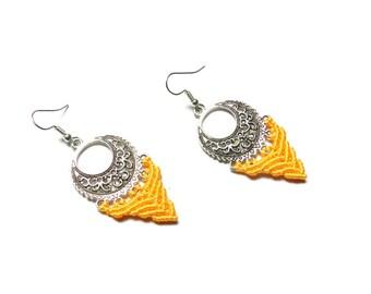 Earrings, silver, macrame, yellow, chandelier, bohemian