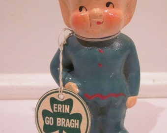 Vintage Made in Japan Composition Leprechaun Figurine with Erin Go Bragh Tag Party Favor