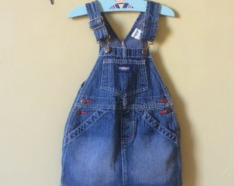 Vintage Oshkosh dress / dungaree pinafore dress. Baby girls classic Oshkosh dress. Overal dress Blue denim. Age 2 years