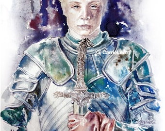 Game of Thrones Original Watercolour Painting 'Brienne' Poster Wall Art