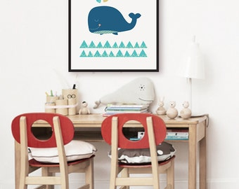 Blue Whale Print, Modern Scandinavian Nursery Decor, Baby Room Art, Hearts Nursery Art, Kids Wall Art, Nautical Nursery Wall Art, Sea Ocean