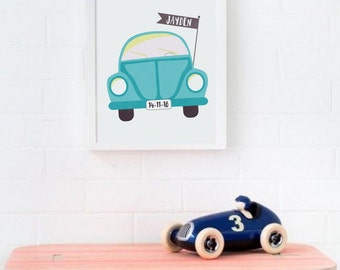 Custom Baby Name Wall Art, Personalized Baby Gift, Blue Car Poster Printable Baby Boy Name Art Car Nursery Decor Boys Room Decor Birth Print