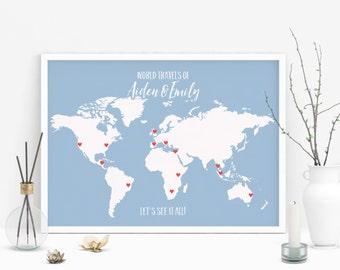 Wedding Gift, Personalized Map Art, Push Pin World Map Poster, Custom Map Art, Personalized World Map Wall Art, Gift for Couple Push Pin Map