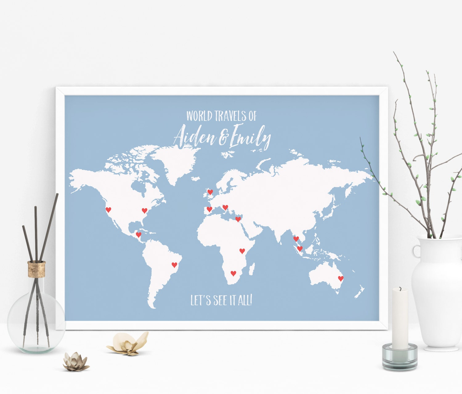 Map Art Wedding Gift : Wedding Gift Personalized Map Art Push Pin World Map Poster