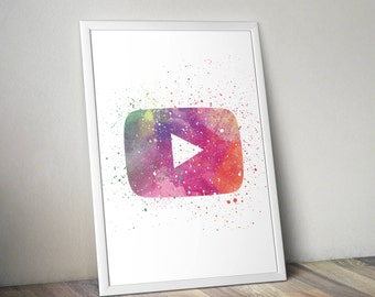 YouTube Inspired Poster Print- Play Button | Digital Download | Wall Art | Watercolour Painting | Watercolor Art | Minimalist | YouTube Logo