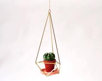 Himmeli Minicactus hanging planter geometrical brass porcelain plate + Minicactus
