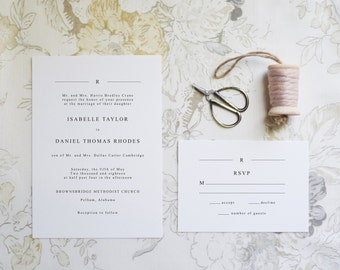 The Isabelle Suite  //  Minimal Black and White Wedding Invitation with Monogram