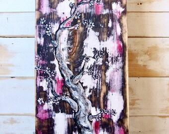 Sale,APPLE TREE PAINTING,Tree Painting,Rustic Tree Painting,Tree Art,Tree Wall Art,Tree Decor,Tree Wall Decor,Painting On Wood,Apple Tree