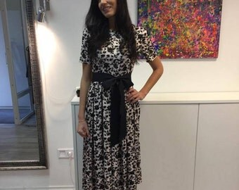 Classic dress with folds, Dress with floral print, Ruffle dress, Pink ruffled ,Pink summer dress, Knee length dress,