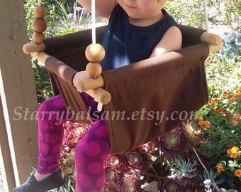 Canvas Baby Swing in Cocoa, Toddler Swing, Baby Swing, Indoor Swing, Kid Swing, First Birthday, Indoor / Outdoor Swing, Kid's Swing, Brown