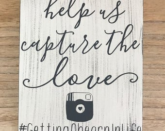 Wedding hashtag sign, help us capture the love, wedding signs, wedding signs wood, wedding signage, wedding hashtag, rustic wedding decor