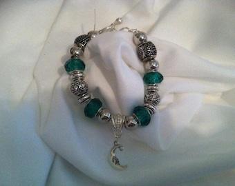 Pandora Like, Green, Silver and Clear Crystal, Snake Chain European Charm bracelet #96-1
