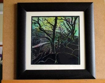 Wistman's Wood, Dartmoor, woodland, silhouette, bare trees, linoprint,
