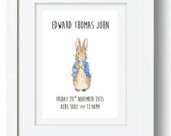 Personalised peter rabbit beatrix potter word art new baby christening frame