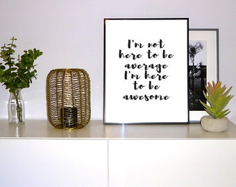 Printable Poster 'Be Awesome' Scandinavian art, poster, scandi print