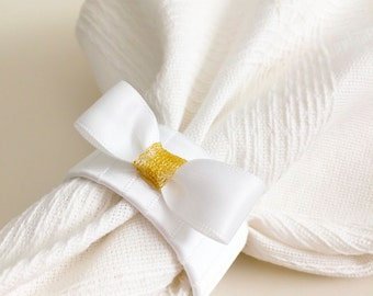 White and Gold Napkin Rings - Wedding Napkin Rings - White and Gold Decor - Wedding Table Decor - Napkin Ring Holders - White Table Decor