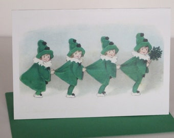 Four Little Girls in Green Card, Holiday Card, Christmas Card, Vintage, Retro, Children