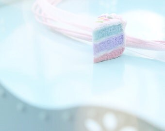 Pastel Polymer Clay Necklace -Pastel Rainbow Cake Choker Necklace -  Ribbon necklace