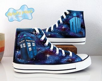 Doctor Who DW Tardis Galaxy Hand Painted Custom Shoes