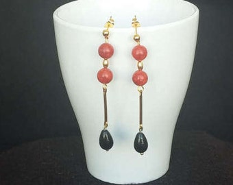 Silver plated gold, red coral and Onyx earrings