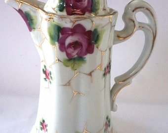 Antique Nippon Chocolate Pot, Antique Japanese Pot, Hand made, Hand Painted Flowers, 24k gold