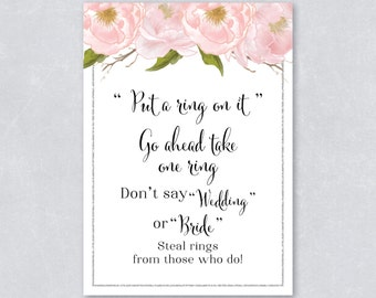Put a ring on it / Don't say wedding /  Bridal shower game / Blush watercolor floral / Silver Glitter / DIY Printable / INSTANT DOWNLOAD
