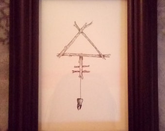 Alchemy Original Pen Ink Drawing Wall Art Witchcraft Wicca