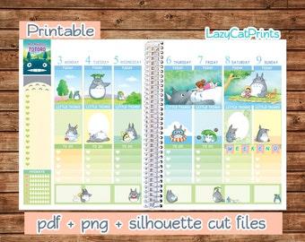 Totoro Printable Planner Stickers / Erin Condren Planner Stickers / Weekly Planner Sticker Kit / Silhouette Cutfiles / Download