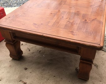 Heavy Carved Wood Coffee Table, Vintage Solid Wood Coffee Table,