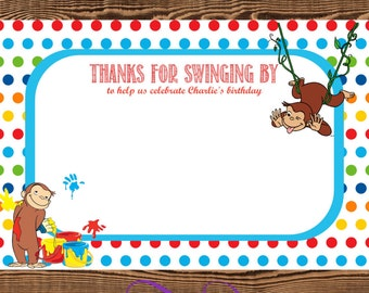 Curious George Thank You Cards / Printable / JPG / 4x6 Personalized
