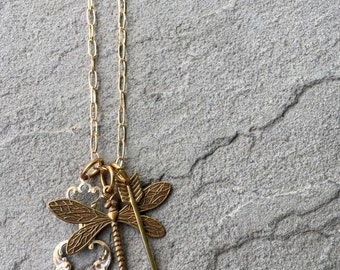 Brass Colored Dragonfly Necklace