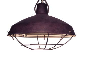Large Cantilevered Aged Bronze Pulley Shade.