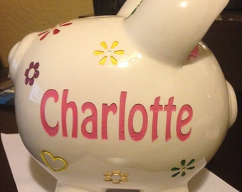 "Deep engraved ""Customized piggy bank"""