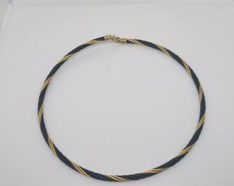 Vintage Twisted Metal Choker, Vintage Necklace, Black Gold Choker, Black Choker, Rope Choker, Twisted Rope Chain, Vintage Choker, 1980s