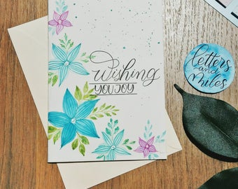 Christmas Card Wedding Card - Sentiment Card - Wish You Joy Card - Watercolor Flowers Greeting Card - Congratulations Congrats Happy Merry