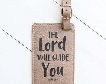 Luggage Tag Bible Verse, Missionary Trip, The Lord Will Guide You, Missionary Gifts, Leather Bag Tag, Religious, Biblical, Isaiah 58:11 LT42