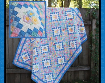 Postage Stamp Posies, a quilt pattern in FOUR sizes by Darlene Zimmerman 1930s era pattern