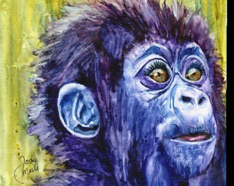 Wall Hanging, Home Decor, Zoo Animal, Monkey, Canvas Print, Watercolor Print, Childrens Wall Hanging, Picture