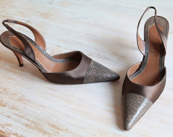 Givenchy Brown Satin and Leather Snake Slingback Shoes, Givenchy Heels Size 37 1/2