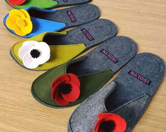 Poppy Slippers by Isolyn. Comfy with large nonslip grip pads