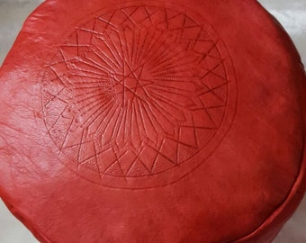 Moroccan handmade traditional red leather pouf